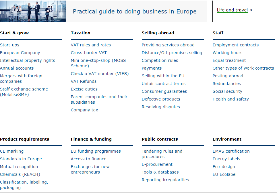 Your Europe Portal - List of Areas of Doing Business in Europe